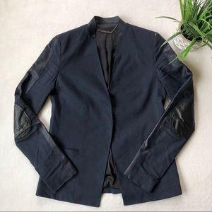 Elie Tahari Moto Style Navy Blue Blazer